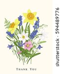 colorful spring flowers.... | Shutterstock .eps vector #594489776