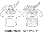 coloring page rabbit. hand... | Shutterstock .eps vector #594490844
