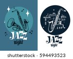 Jazz Emblem With A Saxophone...