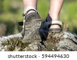 coseup of sport shoes on trail... | Shutterstock . vector #594494630