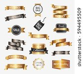 collection of golden premium... | Shutterstock .eps vector #594495509