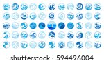 wave icons set. water symbol or ... | Shutterstock .eps vector #594496004