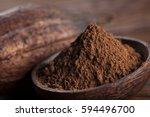 cacao beans and powder and food ... | Shutterstock . vector #594496700