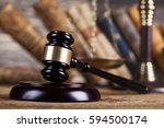 court gavel law theme  mallet... | Shutterstock . vector #594500174