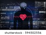 Small photo of Silhouette of human body with technology line and dot of polygonal shape brain and heart over the Technology connection with digital virtual screen background, Science healthy and physician concept