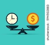 time is money on scales icon.... | Shutterstock .eps vector #594502883