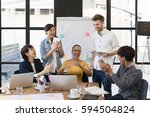 multi ethnic group of happy... | Shutterstock . vector #594504824