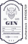 vintage gin label with ethnic... | Shutterstock .eps vector #594508709