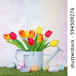easter eggs and tulips in a... | Shutterstock . vector #594509276