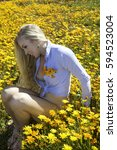 beautiful blond woman in a... | Shutterstock . vector #594523004