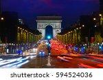 arc de triomphe in paris arch... | Shutterstock . vector #594524036