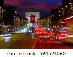 arc de triomphe in paris arch... | Shutterstock . vector #594524060