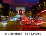 arc de triomphe in paris arch... | Shutterstock . vector #594524060