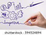 Small photo of Technology, internet, business and marketing. Young business woman writing word: Improve