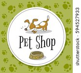 Stock vector pet shop logo vector design animals care symbol sign doodle cartoon style dog hand drawn 594527933