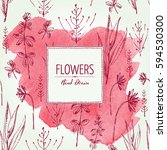watercolor floral background...   Shutterstock .eps vector #594530300