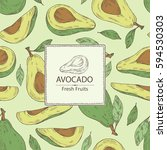 background with avocado and... | Shutterstock .eps vector #594530303