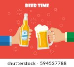 two hands holding a beer mug... | Shutterstock .eps vector #594537788