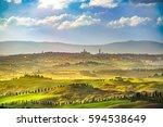 siena city panoramic skyline ... | Shutterstock . vector #594538649