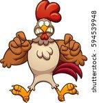 scared cartoon chicken. vector... | Shutterstock .eps vector #594539948