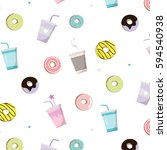 coffee with donut tasty pattern.... | Shutterstock .eps vector #594540938