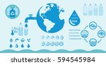 water and watering infographic... | Shutterstock .eps vector #594545984