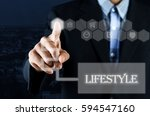 business man pointing hand on... | Shutterstock . vector #594547160