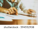 business finance and working... | Shutterstock . vector #594552938