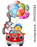 Stock vector vector illustration of easter bunny with chicks driving a car carries easter eggs 594553583