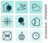 set of 9 eco friendly icons.... | Shutterstock .eps vector #594560600