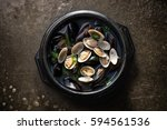 jogae tang is  scallop  clam  ... | Shutterstock . vector #594561536
