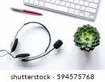 call center manager desktop top ...   Shutterstock . vector #594575768