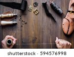 cobbler tools in workshop dark... | Shutterstock . vector #594576998