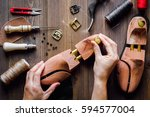 cobbler tools in workshop dark... | Shutterstock . vector #594577004