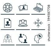 set of 9 business management... | Shutterstock . vector #594587708