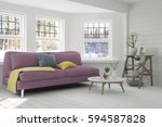 white room with sofa and winter ... | Shutterstock . vector #594587828