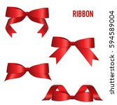 shiny red ribbon. vector... | Shutterstock .eps vector #594589004