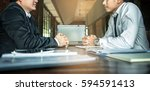 negotiation of two statesman... | Shutterstock . vector #594591413