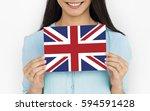 woman hands hold england uk... | Shutterstock . vector #594591428