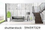 modern bright interior . 3d... | Shutterstock . vector #594597329