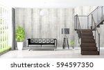 modern bright interior . 3d... | Shutterstock . vector #594597350