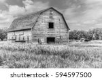 Old Weathered Barn In Black And ...