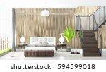 modern bright interior . 3d... | Shutterstock . vector #594599018