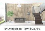 modern bright interior . 3d... | Shutterstock . vector #594608798