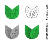 set of leaves icons in... | Shutterstock .eps vector #594610136