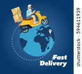 delivery boy riding yellow... | Shutterstock .eps vector #594611939