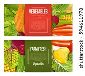 fresh farm food banners vector... | Shutterstock .eps vector #594611978