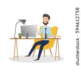 business man working on... | Shutterstock .eps vector #594612758