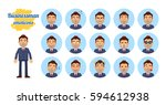 big set of businessman... | Shutterstock .eps vector #594612938
