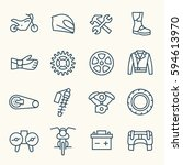 motorcycle accessories line... | Shutterstock .eps vector #594613970